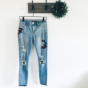 A&F Purple Floral Embroidered Skinny Jeans 4